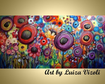Flowers Landscape Large Painting DANCING POPPIES Garden of Eden Embellished Giclee 48x24