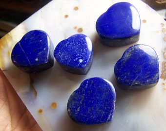 1 Lapis Luzuli Heart shaped stone polished chunk - deep blue with pyrite throat chakra - cabbing raw stone gemstone wire wrap coyoterainbow