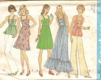1970s Dress - Vintage  Sewing Patterns - Maxi Dress Pattern - 70s Jumper Hipster - Hippie - Hipster Style - Bohemian - DIY - Simplicity 6986