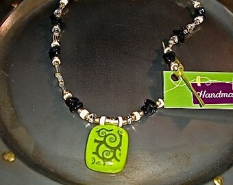 Beaded Fused Glass Lime Scroll Choker Pendant by Design4Soul