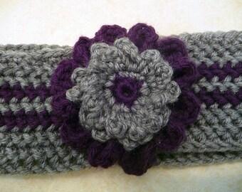 Gray and Purple Crocheted Ear Warmer
