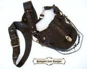 leather, holster bag, burningman, mad max, desert punk, distressed, rugged, Unisex: Renegade Icon Designs