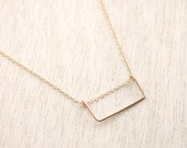 Rectangle Gold Bar Necklace . Goldfilled Layering Minimalist Necklace -1 inch