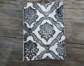 Black and White Damask Ceramic Soap Dish/ Spoon Rest/ Jewelry Catch-All OOAK