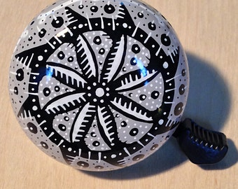 Black and White pattern on grey bicycle bell - hand painted, one of a kind Art for Your Bike!