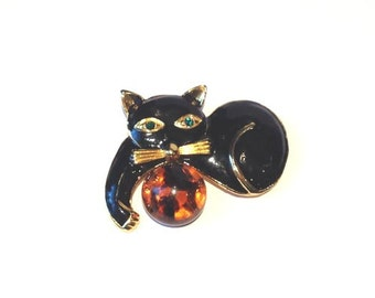 Vintage 80s black enamel cat brooch with faux amber ball // crazy cat lady // rhinestone // animal// figural