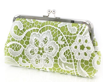Apple Green Lime Lace Clutch for Bridesmaids | Wedding Clutch