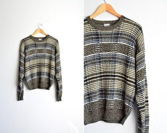 SALE // Size M // MARLED PLAID Sweater // Olive & Tan - Knit Pullover - Acrylic Jumper - Grunge - Vintage '90s.