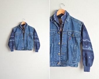 vintage '90s blue combined DENIM & SOUTHWESTERN FLEECE jacket. size women's xs / youth s.