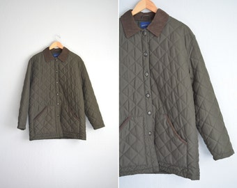 vintage '90s MINIMALIST OLIVE green QUILTED button-up collared jacket. size l xl 1x.