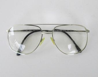Vintage Fratelli Lozza Silver Aviator Glasses