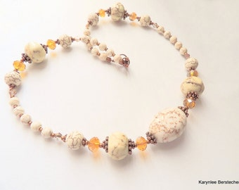 Creamy White Magnesite and Copper Statement Necklace, Southwestern Style, Copper and Amber