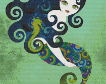 Mermaid cross stitch modern art by Sandra Vargas 'Aquamarine' - 14 or 25 counted cross stitch kit