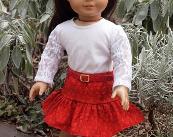 18 inch Dolls Clothes - Girl Dolls Clothes -Skirt Outfit - Red Skirt - Lace Shirt