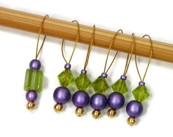 Handmade Stitch Markers Snagless DIY Knitting Lime Green Purple