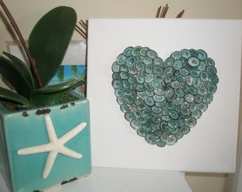 "Sea Shell Heart on Canvas w/over 100 Turquoise Limpet Shells, Frame Size 10"" x 10"" ready to hang, Blue Shells, Heart Shape"