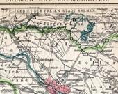 1894 Vintage Map of Bremen and Bremerhaven, Germany