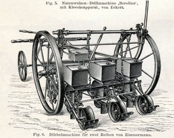 1895 German Engraving of Sowing Equipment