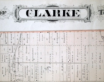 1878 Large Rare Vintage Map of Clarke Township, Ontario, Canada - Handcolored