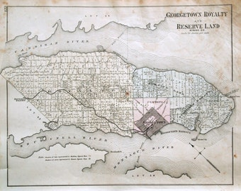 1880 Large Rare Vintage Map of Georgetown Royalty and Reserve Land, Kings County, Prince Edward Island
