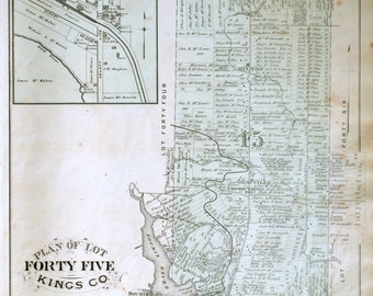 1880 Large Rare Vintage Map of Lot 45, Kings County, Prince Edward Island. With County Line, Lot 67