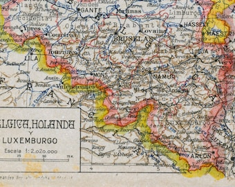 1940 Spanish Vintage Map of Belgium, the Netherlands, and Luxembourg