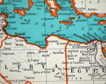 1945 Vintage Map of the Mediterranean Sea - Mediterranean Sea Vintage Map - World War II-Era