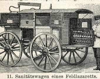 1894 Antique German Engraving of Ambulances and Equipment of the Medical Corps