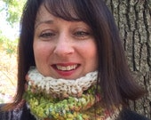 Chunky Knit Cowl Scarf Hand Spun Yarn Yellow Green Off White Neck Warmer
