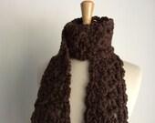 Chunky Brown Crochet Lace Scarf Women Neck Warmer Winter