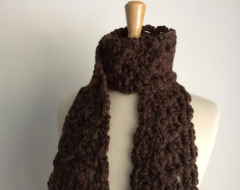 Chunky Brown Crochet Lace Scarf Women Neck Warmer Winter