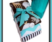Best Etsy Market Burp Cloths - Baby Zoo Animals in Blue and Grey - Premium 6 Ply Diapers