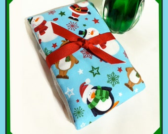 Burp Cloth for Christmas in Baby Print with Santa and Friends - Single Boutique Diaper Burp Cloth