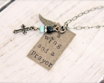 Hand stamped antique brass necklace, a wing and a prayer, inspirational jewelry, cross, wing, beaded.