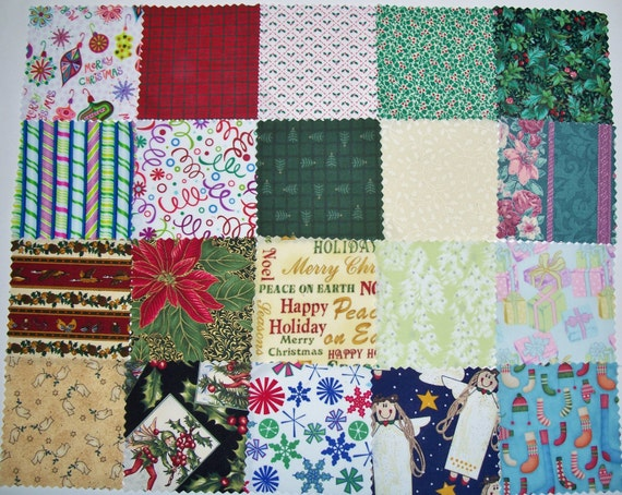 """COUPON Sale - 20 Christmas 5"""" Die-Cut Charm Squares, Pre-cut, 100% Cotton Quilt Fabric, Xmas, Holiday, Quilting Fabric (#101)"""