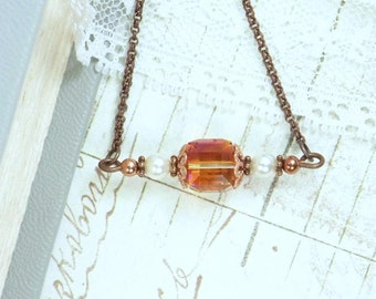 Crystal Copper Necklace Copper Bar Necklace Minimalist Necklace Layering Necklace Boho Necklace