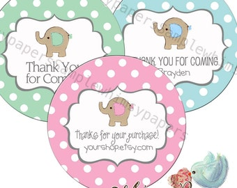 "Personalized Elephant Thank You Labels,  ""Thank You"" stickers, 1.5, 1.75"", 2 or 2.5 Inch, Glossy Round labels"