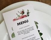 Vintage Roses Printable Menu Template - Wedding Menu - Rose Menu -  Printable Menu Template - Menu Template - Menu Cards - Menu Card PDF