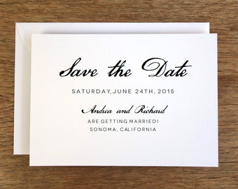 Printable Save the Date Card - Save the Date Template - Instant Download - Save the Date PDF - Black & White Calligraphy Save the Date Card