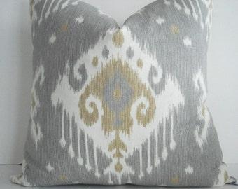 BOTH SIDES-Ikat   Grey - Decorative Designer Pillow -Light Grey Ivory -Geometric
