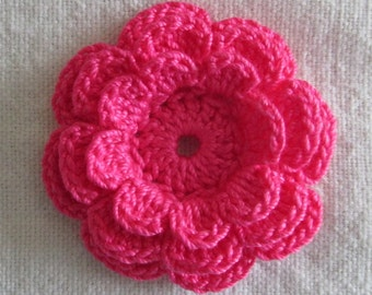 Hot Pink Crochet Flower Appliques, Three-Layer Flowers - set of 10