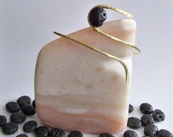 SALE Upper Arm Jewelry - Armlet - Upper Arm Bracelet - Arm Band - Smooth Lightly Curved with Lava Stone - 50% Goes to Breast Cancer Survivor