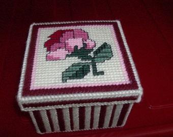 Needlepoint Rose Trinket Box-Needlepoint Mothers Day Rose Trinket Box-Needlepoint Plastic Canvas Rose Trinket Box