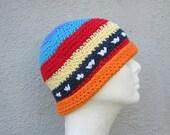men's cotton beanie/ multi color stripe crochet- made to order