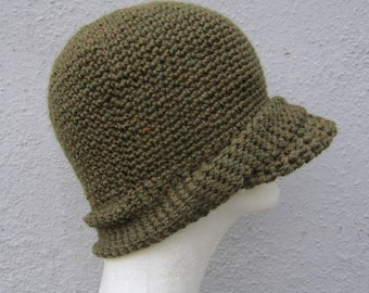 crochet jeep cap/ olive drab wool