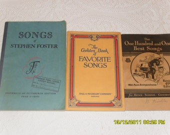 Vintage Piano Sheet Music Books 1940s and 50s Stephen Foster, Old time classics, favorite piano music