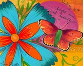 Stretched Canvas Print: Bright Sun and Butterflies- 11x14