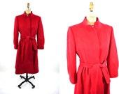 1980s coat vintage 80s red wool Forstmann winter coat S/M