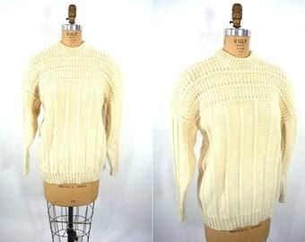 "1970s wool sweater | cream crewneck wool fisherman chunky sweater | vintage 70s sweater | W 32"""
