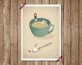 Tea Coffee girl paper boat ship illustration - Cup beach Print 5 x 7